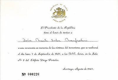 Chile 1987 Invitation from President Augusto Pinochet