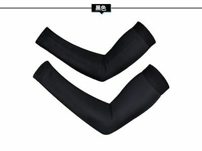 Sz XXL Black Cycling Arm Sleeves Sun Protective UV Sports Arm Covers Arm Warmers