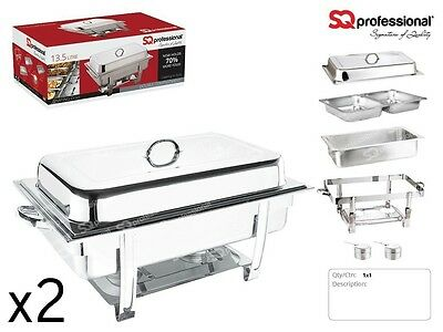 PACK OF 2 Chafing Dish - Double*9.5L* Lid,Water Pan and 2 Fuel Holders