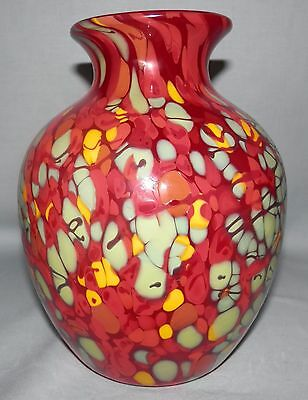 Rare Fenton Dave Fetty signed offhand ruby red mosaic vase w/original tag OOAK