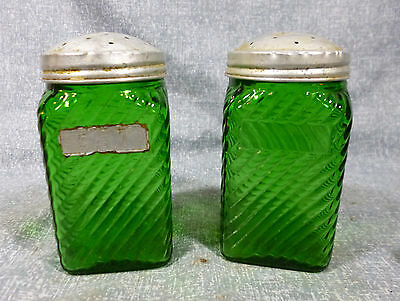 Vintage Owens Illinois Emerald Green Hoosier Style Kitchen Shaker Canisters