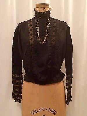 Antique Victorian 1900's Black Silk And Lace Bodice, Waist Blouse, High Neck