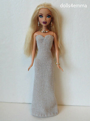 MY SCENE BARBIE CLOTHES shimmer Gown & Jewelry Set Handmade Fashion NO DOLL d4e