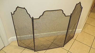 antique Arts & Crafts early 20th century Steel 3 Fold Fire place Screen