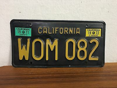 1963 Yellow on Black California License Plate WOM 082 w/1971&72 tags