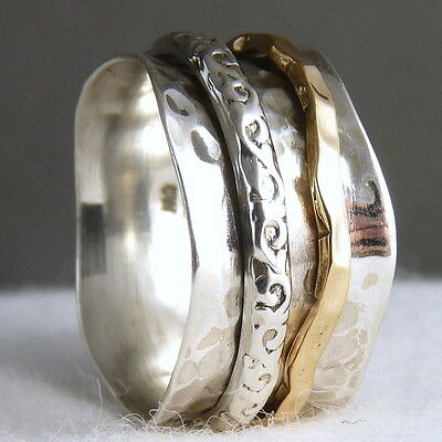 US 9 ~ 2-Spin Deco 'Wave' SilverSari SPINNER RING ~ Sterling Silver & Brass