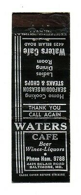 Vintage WATERS CAFE Baltimore MD Front Strike Matchcover Matchbook Cover