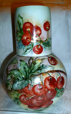 Vintage Hand Painted Cherries Porcelain Bedside Carafe Pitcher And Cup