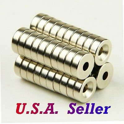50pcs N50 Strong Round Rare Earth Magnets Neodymium 10mmx3mm Hole 3mm US SHIPPED