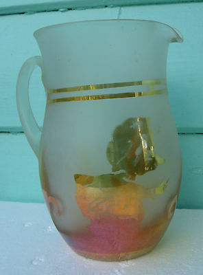 Rare Jain Frosted Marigold Carnival Glass Jug Little Red Riding Hood & Wolf