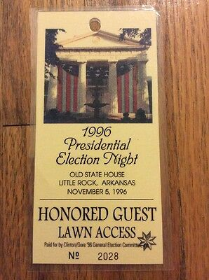 1996 President Bill Clinton & VP Al Gore Election Night Honored Guest Credential