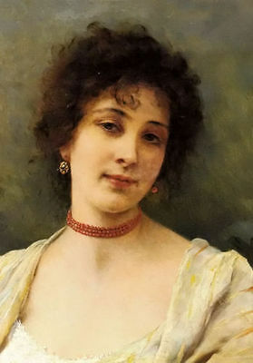 """Art Oil Painting elegant lady young female portrait with nice necklace 20""""x24"""""""