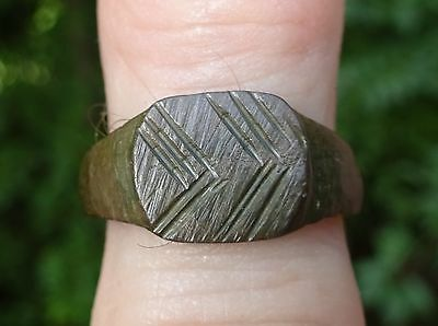 WEARABLE Ancient Roman Bronze Ring-Sz 6 1/4-6 1/2 Smooth-Fine Design-USA Seller