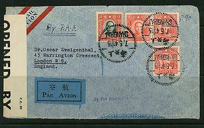 China 1941 Ww2 Censor Airmail Cover To London From Polish Legation Pan American