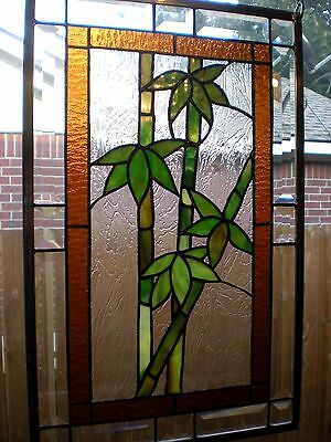 "Stained Glass Window Panel Hanging ""Lucky Bamboo"" -13 1/2"" x 21 1/2"" - Signed"