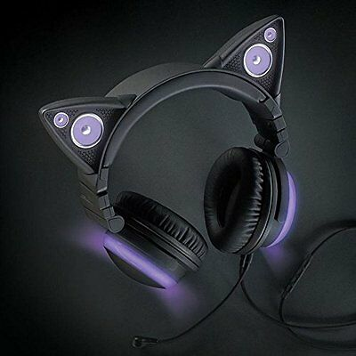 NEXT DAY DELIVERY NEW Axent Wear - Cat Ear Headphones with Speakers Purple