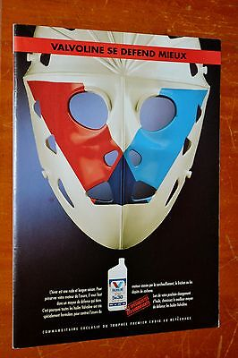 Cool French 1987 Valvoline Motor Oil With Hockey Mask Canadian Ad - Retro 80S
