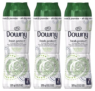 3x Downy Fresh Protect In Wash Odor Shield Scent Booster Fresh Blossom 13.2 Oz