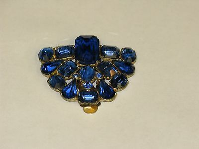 Vintage Sapphire blue rhinestone dress/fur clip set in stones with foiled back