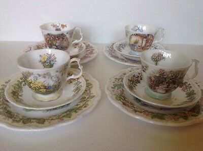 """Royal Doulton 12 Piece Set BRAMBLY HEDGE FOUR SEASONS 8"""" Plates, Cups & Saucers"""