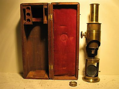 ANTIQUE BRASS MICROSCOPE, MONOCULAR DRUM, ORIGINAL CASE, LATE 1800s, FUNCTIONAL