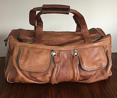 Authentic FRYE Duffle Travel Gym Bag Tote Tan Genuine Leather Worn