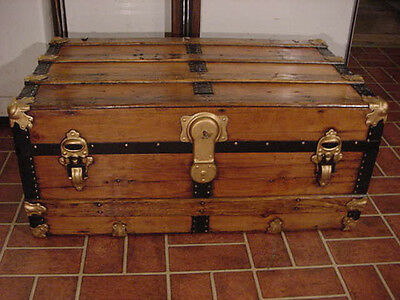 Ladycomet Refinished Flat Top Steamer Trunk Antique Chest With Key