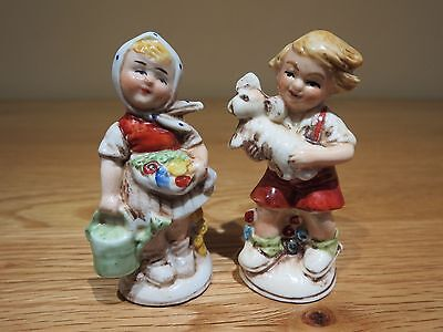 Boy and Girl figurines # 20881 - 20882 Germany ~ 3 inches tall ~ ( Grafenthal )
