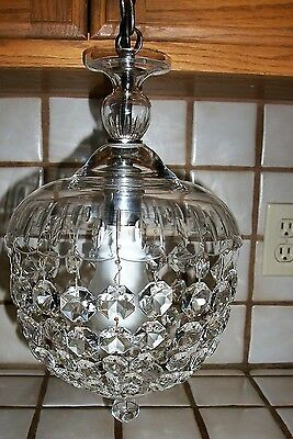 Vintage 1930s French Empire Crystal Basket Style Ceiling Lamp Chandelier Antique