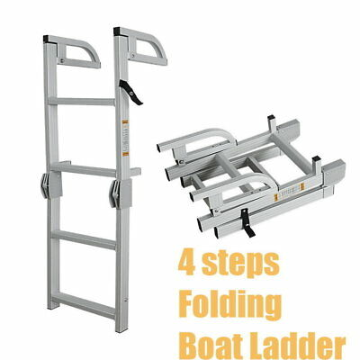 4 Step Folding Boat Ladder Compact Aluminum Deck Swimming Platform Boarding