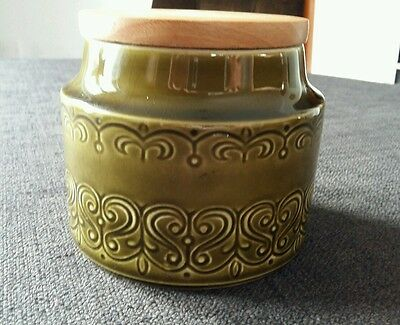 Irish Celtic Green Pottery Storage Jar with good fitting wooden lid and  seal