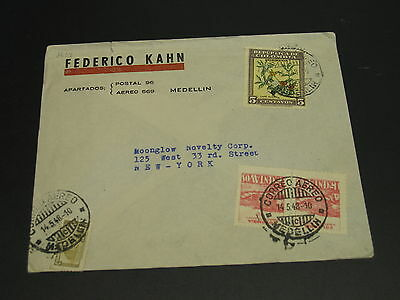 Colombia 1948 airmail cover to USA top edge fault *9208