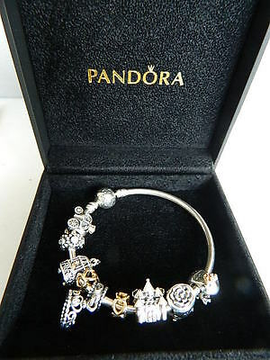 Pandora Moments Silver Bangle With Fairy Tale Charms