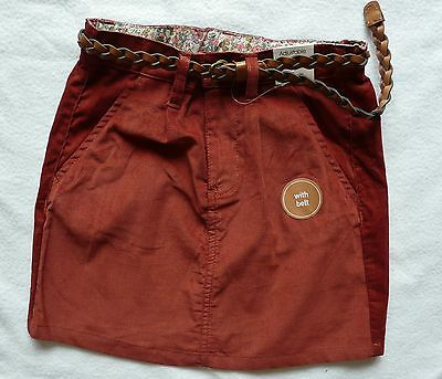 NEXT  BNWT Cord corduory belted short skirt with pockets rust brown red 8 years