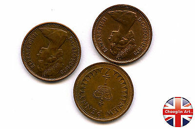 Three 1978 British Bronze ELIZABETH II HALF NEW PENNY Coins