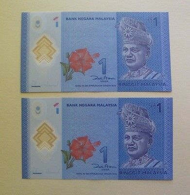 2X Unc,consecutive Polymer Malaysian 1 Rinngit Notes