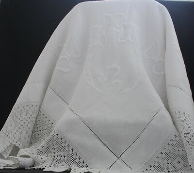 Vintage white linen square tablecloth with white crocheted border.