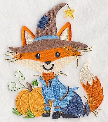 Embroidered Fox scarecrow quilt block, fabric,cushion panel, quilt, autumn