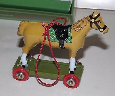 Schylling Penny Toy Tin Toy Christmas Horse Ornament_Brown Horse w/ green 2003