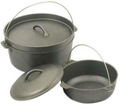 4.5 QUART Cast Iron Dutch Camp Oven Heavy Duty Pot Pan Camping Outdoor Cookware