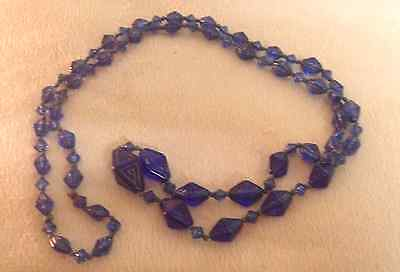 VINTAGE venetian blue  glass  flapper  1930s NECKLACE blue  40 inch deco genuine