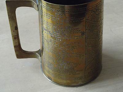 WWII Brass Tankard by Granger - engraved with maps and principal events of WWII