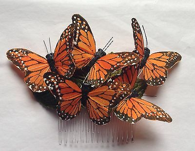 Monarch glen feather butterfly hair comb hairpiece bridal weddings