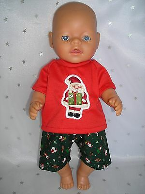 """Dolls clothes for 17"""" Baby Born boy doll~RED CHRISTMAS SANTA~PRESENT TOP~SHORTS"""