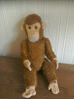 "vintage 10"" articulated chimp . Glass eye's.steiff ?"