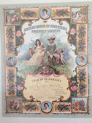 Rare Antique 1899 Ancient Order of Foresters Large Certificate Framed - Masonic
