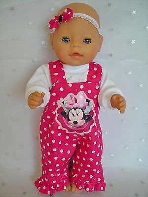 """Dolls clothes  for 17"""" Baby Born  doll~MINNIE MOUSE PINK~SPOT OVERALLS & TOP~"""