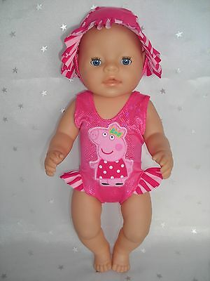 """Dolls clothes for 17"""" Baby Born doll~PEPPA PIG PINK STRIPE SWIMMING COSTUME~HAT"""