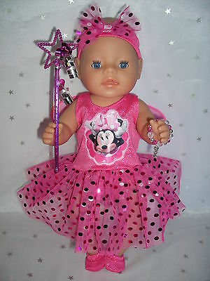"""Dolls clothes for 17"""" Baby Born doll~MINNIE MOUSE PINK FAIRY DRESS & ACCESSORIES"""