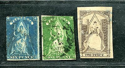 Australia Victoria 3 Queen On Throne Values To 6 Pence Used